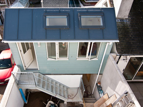 Ariel view of house on narrow plot, St Ives, Cornwall