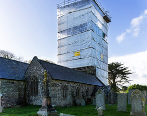 Stithians church scaffolding, Cornwall